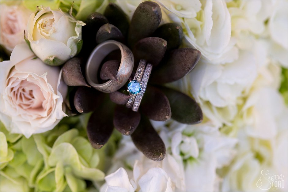 Weddings rings inside bouquet