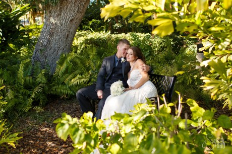 Bride and groom in garden at Tavares Pavilion wedding
