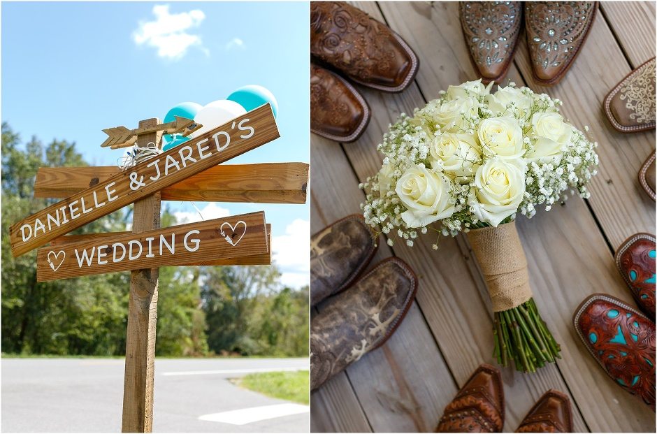 wedding boots and signs